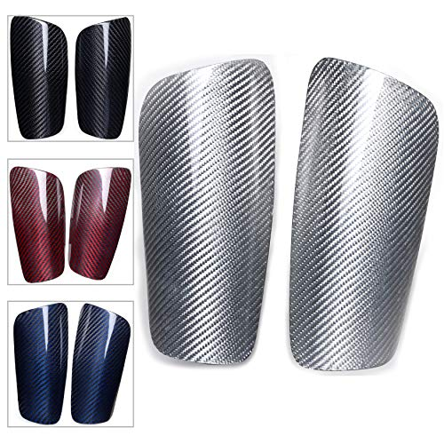 Carbon Fiber Soccer Shin Guards,with Large Cushioned,for Kid,Youth,Adult,Men,Slim,Superlight,Genuine Carbon,Baseball,Football,Kickboxing,Thai,MMA,Protection Shocks Injuries (Glossy Silver, M)