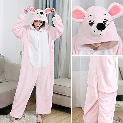 M & A Schlafanzug Lustige rosa Maus Onesies Frauen Pyjamas Männer Tier Onesie Für Erwachsene Cartoon Cosplay Kostüm Einteilige Pijamas Bodys-rosa Maus_XL