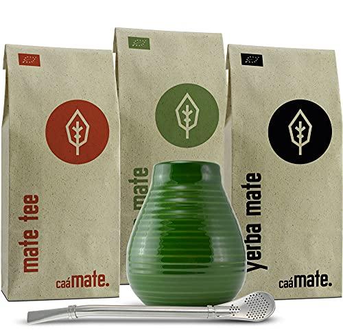 Mate Tee Set Bio ● 3 Matesorten + Matebecher + Bombilla + Zubereitungsanleitung (grün)