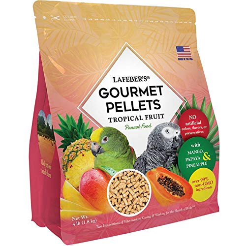 LAFEBER'S Premium Tropical Fruit Pellets Pet Bird Food, Made with Non-GMO and Human-Grade Ingredients, for Parrots, 4 lbs