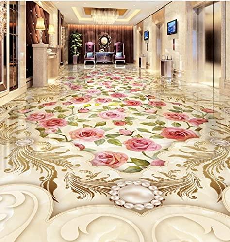 Murales de pared europeos 3D pintura de suelo azulejo patrón de piedra suelo de parquet dormitorio sala de estar vinilo pegatina-300 * 210 cm