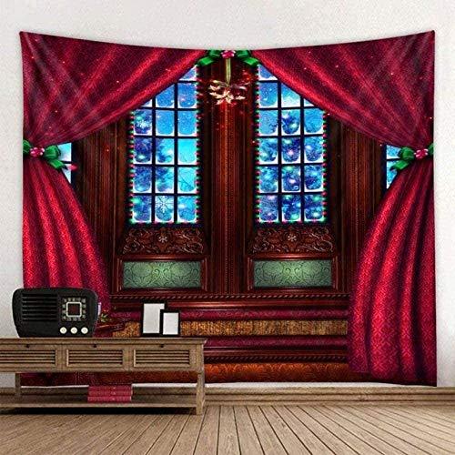 Tapisserie Wandhalterung Weihnachten Retro Magic Castle Burgund Roter Vorhang Effekt Ästhetik Indische Boho Hippie Trippy Artwork Print Moderne Kunst Decke 150cm x 200cm