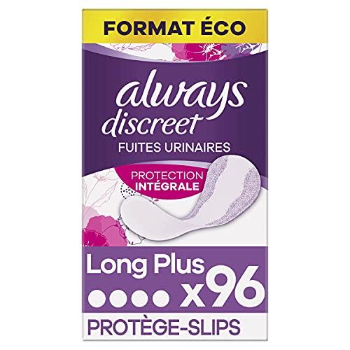 Always Discreet, Protège-Slips Long+, Protection Intégrale, Format Eco x96 (4 packs de 24 unités)
