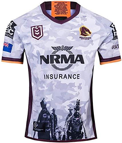 MCE Camiseta Deportiva 2019 Brisbane Broncos conmemorativos Aficionados Edición Rugby Jersey, Casual Manga Corta de Secado rápido Entrenamiento en la Camiseta de la Tapa (Size : M)