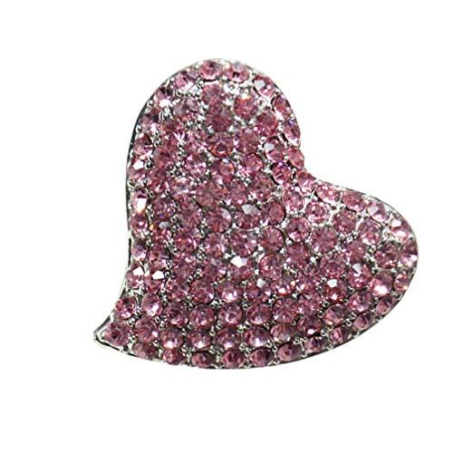 Genérico Broche de Corazón de Diamantes de Imitación Broche de Ramillete de Diamante Regalo de Joyería del Día de San Valentín para Las Mujeres Niñas Rosa