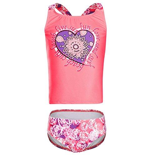 DAYU Mädchen Badeanzug Kinder Bikini Cute Herz Drucken Badeanzug Bademode Kinder Beachwear Tankini - 12-14