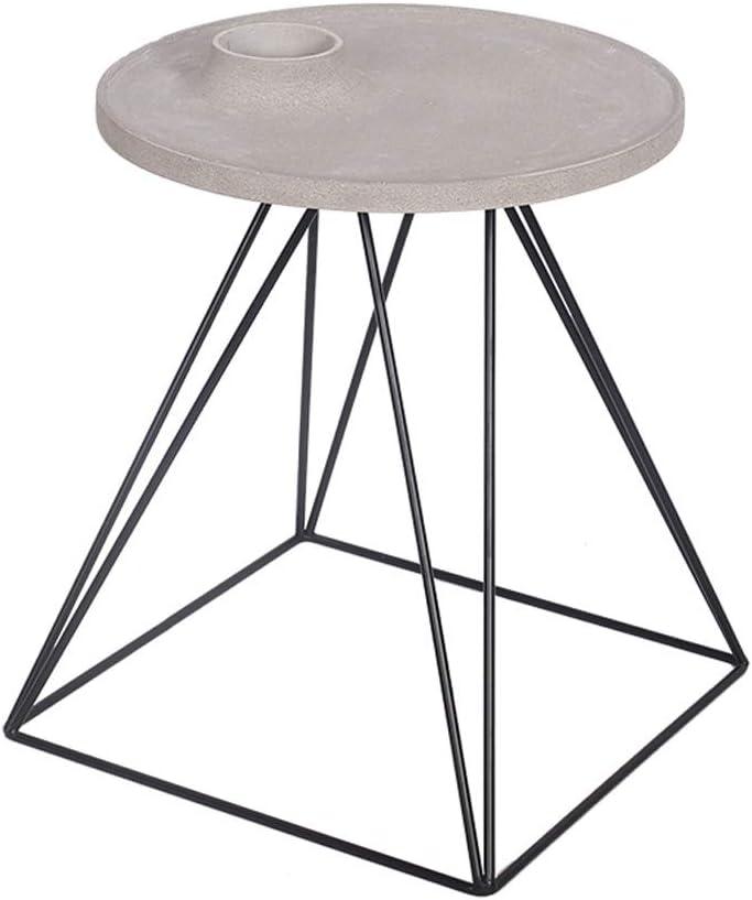ZSIF Mesa de café, Soportes de Hierro Forjado, encimeras de hormigón, Estanterías Creativo Sala de Mesa Sofá Lado Algunos de los Adornos (Color : Cement Coffee Table)