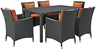 Modway EEI-2312-CHC-TUS-SET Sojourn 7 Piece Sunbrella Dining Set, Six, Tuscan Orange