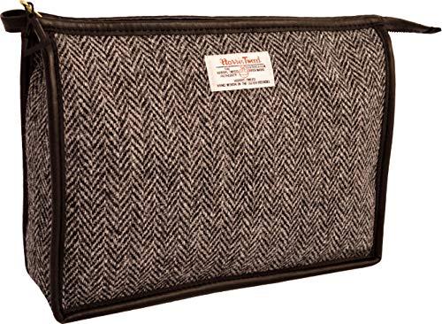 Vagabond Bags Ltd Harris Tweed Herringbone Large Holdall Trousse de Toilette, 26 cm, Noir (Black & White Tweed)