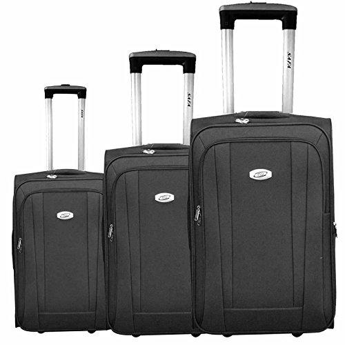 Kofferset 3 TLG Trolley Reisekoffer Koffer Rollkoffer Reisetrolley 2 Rollen #36 SCHWARZ