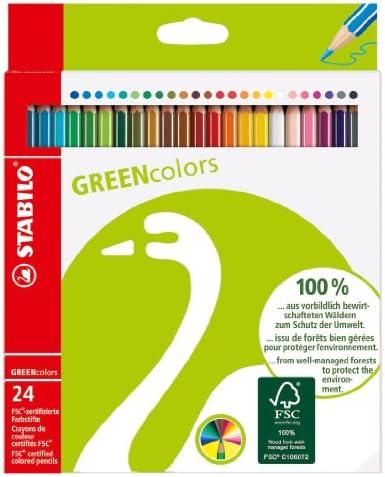 Stabilo Green Color Pencil Wallet , Set of 24 , Multicolored