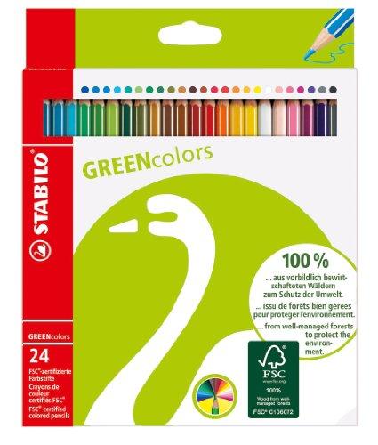 Umweltfreundlicher Buntstift - STABILO GREENcolors - 24er Pack - mit 24 verschiedenen Farben