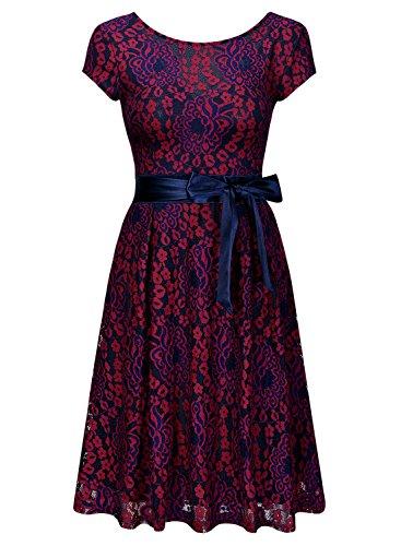 Miusol Kleid Elegant Hochzeit Brautjungfer Mini Spitzenkleider Abendkleider Rot - 5