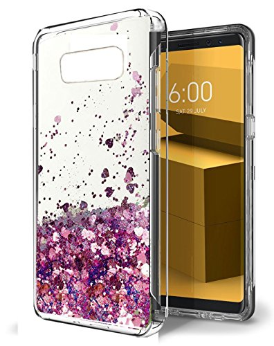 Urberry Galaxy Note 8 Case, Flowing Liquid Floating Luxury Bling Glitter Sparkle Hard Case for Samsung Galaxy Note 8 with a Free Screen Protector (Dark pink)