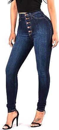Pantalones Jeans Skinny de Mujer Cintura Alta Elásticos Vaqueros Levanta Cola