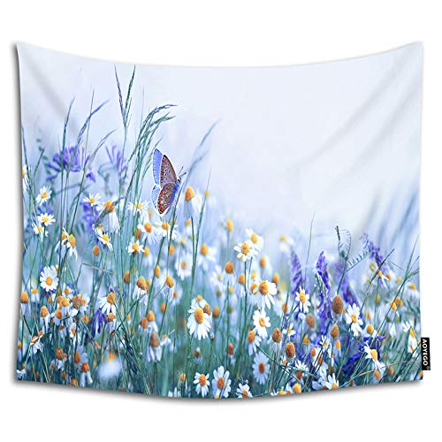 AOYEGO Floral Field Tapestry 90x60 Inch Butterfly Flower Chamomile Purple Lavender Grass Wall Tapestries for Bedroom Large Home Decorative Polyester Tapestries