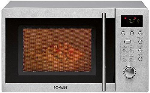Bomann MWG 2211U CB Mikrowelle / 800 Watt / Grill 1000 Watt / 20 L Garraum / 5 Mikrowellen-Leistungsstufen / schwarz-silber