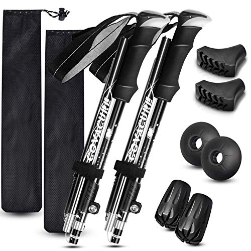 Trekking Poles Collapsible Hiking Poles - Aluminum Alloy 7075 Trekking Sticks with Quick Lock System, Telescopic, Collapsible, Ultralight for Hiking, Camping(Black)