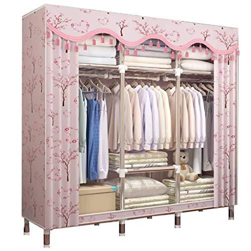 Armario grande y portátil mejorado y ampliado, armario duradero y fácil de guardarropa (color: B)
