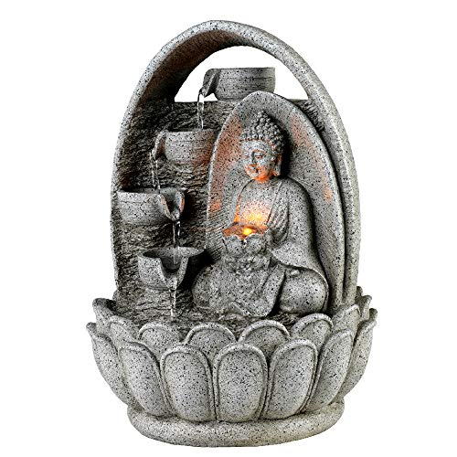"""Peaktop 4-Tiered Buddha Tabletop Waterfall Zen Fountain with LED Lights, Gray, 10.2"""""""" Height"""