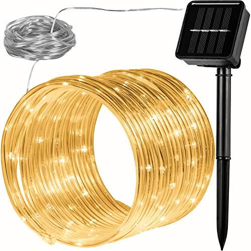 VOLTRONIC 100 LED Solar Batterie Lichterschlauch Lichterkette für innen und außen, erhältlich in: warmweiß/kaltweiß/bunt, IP44, 2 Leuchtmodi, Outdoor
