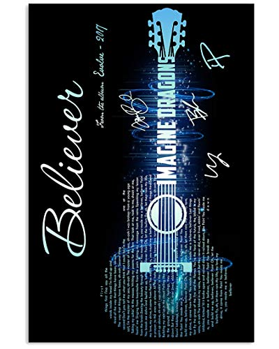 GOGREEN Print Imagine Dragons – Believer Lyrics Song Design Guitar Blue Wall Art Gifts Lovers Poster