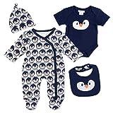 PitterPatter Baby Set Jungen navy | Motiv: Pinguin | Baby Set mit Strampler fr Neugeborene & Kleinkinder | Gre: 3-6 Monate (62/68)