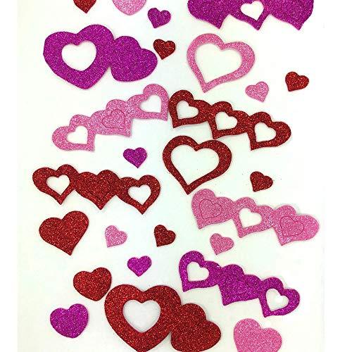 XO Valentine's Day Foam Glitter Heart Shape Stickers