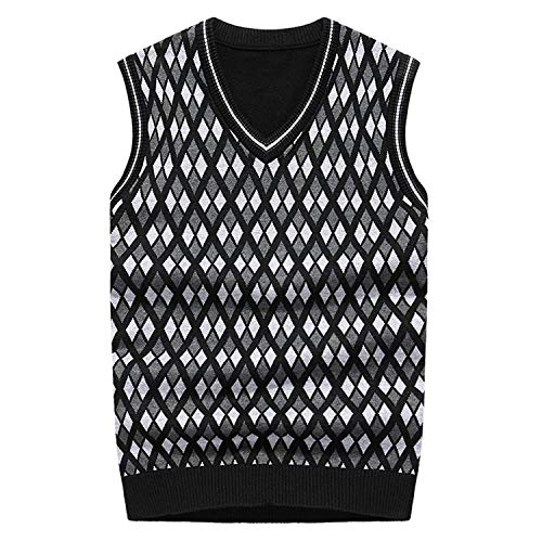 Wool Blend Men Pullover Plaid Sleeveless Vest Sweater v Neck Knitting Sweaters Vests Waistcoats,heise,XL