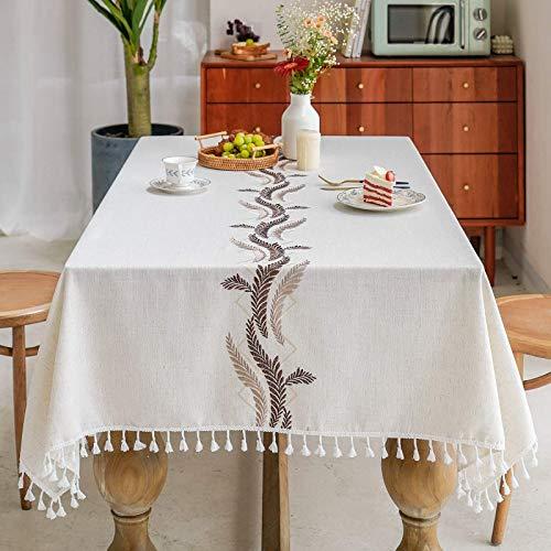 BKPH Manteles Rectangular Manteles Algodón Lino Mantel Bordado Borla Manteles para Cocina Comedor Mesa Buffet Mantel de la Tabla