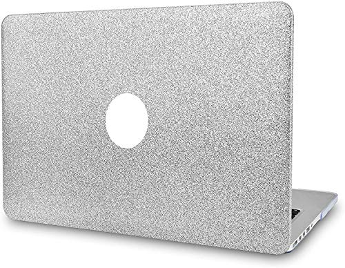 1SourceTek MacBook Air 13 inch Case 2010-2017 Release A1466 A1369 Plastic Pattern Hard Shell And Keyboard Cover Only Compatible with MacBook Air 13 (Sparkling Silver)