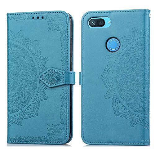 Bear Village Hülle für Xiaomi MI 8 Lite, PU Lederhülle Handyhülle für Xiaomi MI 8 Lite, Brieftasche Kratzfestes Magnet Handytasche mit Kartenfach, Blau