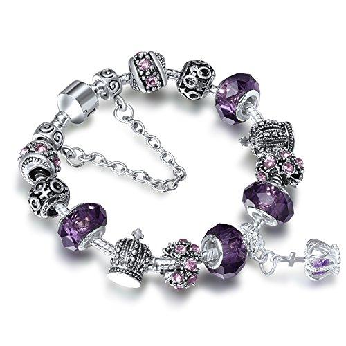 A TE Bracciale Charms da Donna placcato in oro bianco Beads cristalli viola Regalo Festa #JW-B70