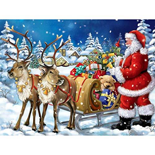 Diopn 5D Diamant Schilderij DIY Kerstman Volledige Ronde Strass Diamant Borduurwerk Slee Landschap Elk Mozaïek Kerst Decor(Rond Diamant 30 * 40) 40 * 50