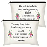 2 Pieces Aunt Gifts Cosmetic Bags Thank You Present for Auntie Funny Sister Christmas Gift My Children Having You as an Auntie Friendship Travel Makeup Bag for Birthday Retirement