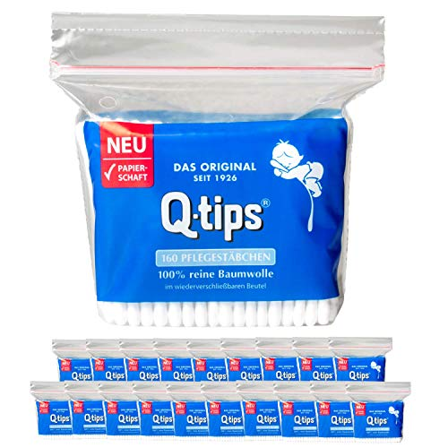 Q-tips® Pflegestäbchen mit Papierschaft, Nachfüllpackung, Vorteilspack (20x 160 Stück), 100% biologisch abbaubar, Baumwolle ohne Plastik