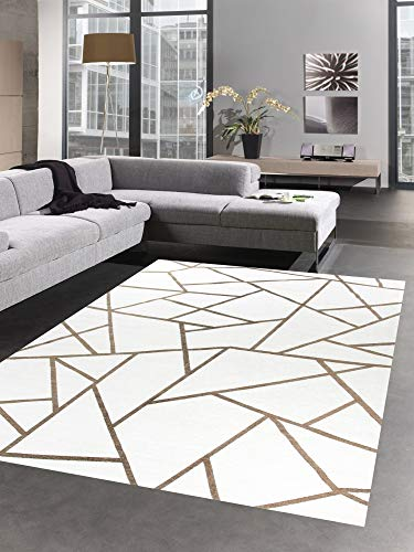 CARPETIA Tapis Moderne Tapis du Salon Orient kelem crème Bronze doré Größe 135x200 cm