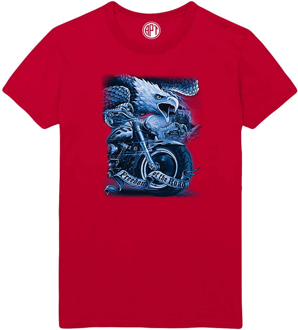Freedom of The Road Motorcycle with Eagle Printed T-Shirt