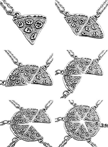 BFF Necklace Best Friend Forever Pizza SlicePuzzle Friendship Necklace Set of 6 (Pizza-4pcs)