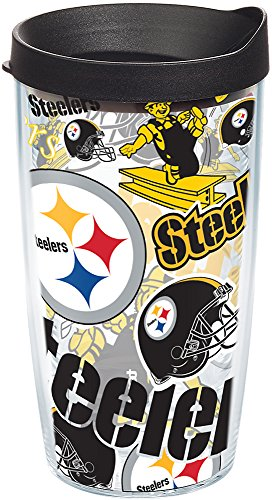 Tervis NFL Pittsburgh Steelers All Over Tumbler with Wrap and Black Lid 16oz, Clear