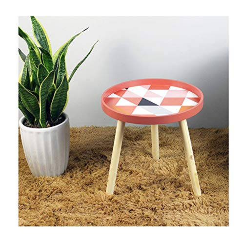 LICHUAN Side Table Nordic Small Fresh Mini Coffee Tables Creative Wood Low Round Tables Living Room Home Furniture Home Decoration Accessories End Table Easy Assembly (Color : B)