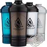 Hydra Cup - [4 Pack] Shaker Bottle with Storage for Supplements, 22-Ounce Blender Cups with Wire Whisk (4)