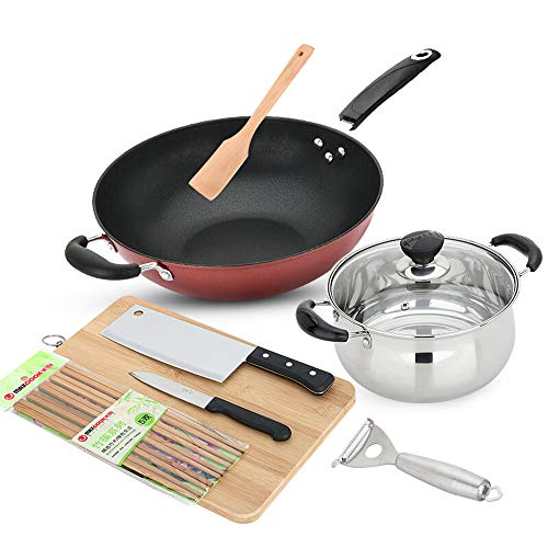 Cookware Set, Wok + Soup Pot + Kitchen Knife + Fruit Knife + Wooden Spatula + Paring Knife + Chopping Board + 5 Pairs of Chopsticks, Concave-Convex Design at The Bottom of The Pot, Uniform Heating.