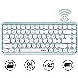 Teclado Bluetooth inalámbrico, lindo teclado compacto Mini de 84 teclas, tecnología de conexión inalámbrica Bluetooth de 2,4 GHz, teclado redondo retro ABS, panel mate, diseño ergonómico (verde)