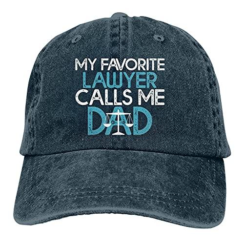 Gymini My Favorite Lawyer Calls Me Dad Gift Lawyer Dad Sombreros Algodón Lavable Gorras de béisbol Ajustable para Hombre Mujer Azul Marino
