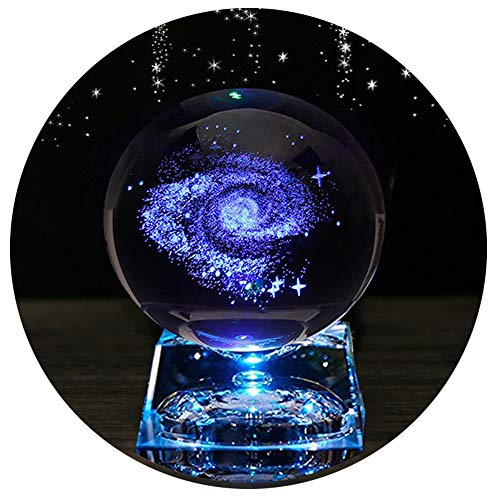 Zulux Galaxy Crystal Ball - Galaxy Balls for Kids with LED Lamp Base, Clear...