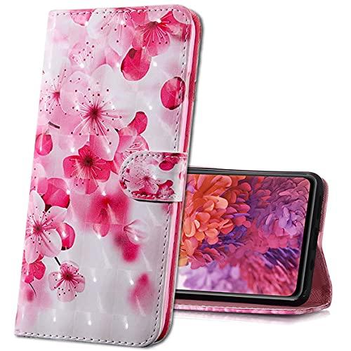 MRSTER Moto G7 Play Handytasche, Leder Schutzhülle Brieftasche Hülle Flip Hülle 3D Muster Cover mit Kartenfach Magnet Tasche Handyhüllen für Motorola Moto G7 Play. BX 3D - Pink Cherry