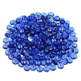 KINGOU Flat Glass Gems/Beads/Stones for Vase Filler, Table Scatter, Games - 1 Lbs (12-14mm, Approx. 1/2')