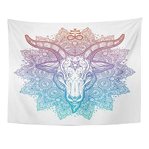Ojo que todo lo ve en un mandala redondo adornado con demonio satánico cabeza de cabra mística alquimia oculta tapiz decoración del hogar 150x100cm