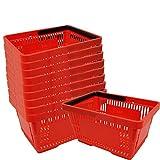 GERSO - 10 cestini della spesa in plastica con manici, portata 20 litri, Larghezza 40 cm impilabili rossi